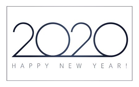 2020 Happy New Year simple luxury signs. Minimal 2020 happy new year black symbols for calendar template design. Vector illustration with Xmas holiday label isolated on white background