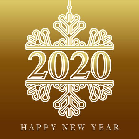 2020 golden winter snow, Happy New Year card. Lettering Xmas greeting inscription and white snowflake on gold background. Vector illustration Stock fotó - 129521189