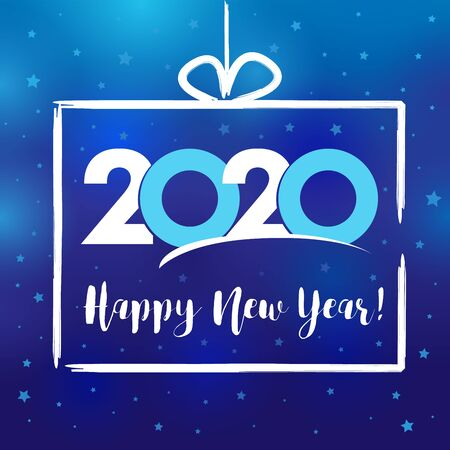 2020 in present box, Happy New Year card. Lettering Xmas greeting inscription and stars on blue winter background. Vector illustration Stock fotó - 129521193