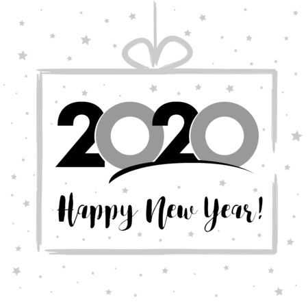 2020 in silver gift box, Happy New Year card. Lettering Xmas greeting inscription and gray stars on white winter background. Vector illustration Illusztráció