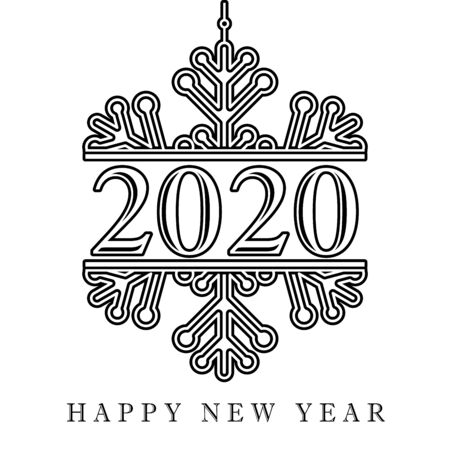 2020 black winter snow, Happy New Year card. Lettering Xmas greeting inscription and snowflake on white background. Vector illustration