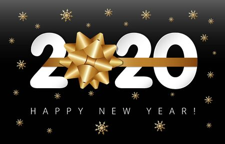 2020 paper numbers and gold bow-knot, Happy New Year on black background. Merry Christmas vector illustration with 20 & 20 number, greeting text and golden snowflakes Illustration
