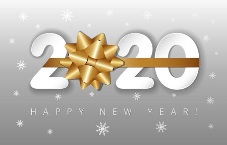 2020 paper numbers and golden bow, Happy New Year on silver background. Merry Christmas vector illustration with 20 & 20 number, greeting text and white snowflakes Illustration