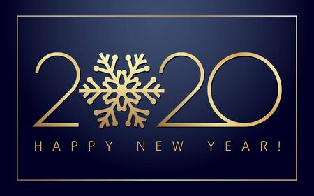 2020 Xmas numbers, golden snowflake and Happy New Year text on dark background. Merry Christmas vector illustration with 20 & 20 number, luxury invitation card or calendar title design
