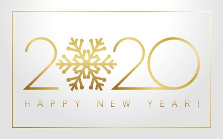 2020 Xmas numbers, golden snowflake and Happy New Year text on silver background. Merry Christmas vector illustration with 20 & 20 gold number, luxury invitation card or calendar title design Illustration