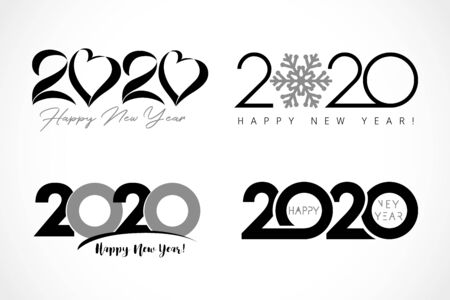 Big set of 2020 text design. Collection of Happy New Year label and happy holidays template greeting card. Vector illustration isolated on white background