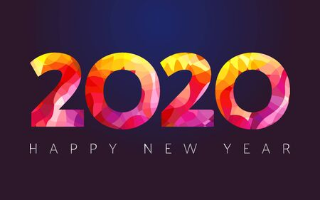 2020 A Happy New Year congrats. Stained glass. Abstract isolated graphic design template. Xmas numbers. Red colored emblem. Sale digits, 2% or up to 20% percent off idea. Calender title. Archivio Fotografico - 129688824