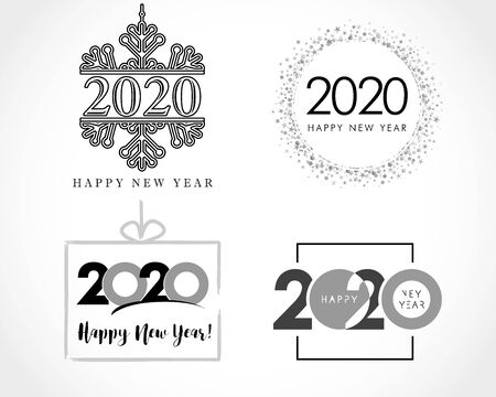Big set of 2020 text design in black colors. Collection of Happy New Year label and happy holidays template greeting card. Vector illustration isolated on white background Illustration