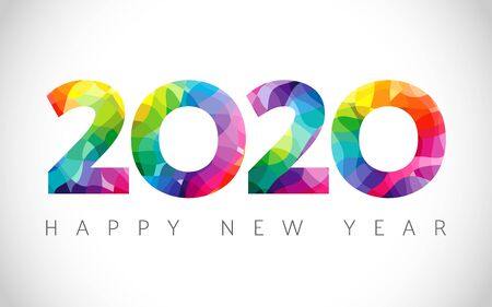 2020 A Happy New Year congrats. Stained glass. Abstract isolated graphic design template. Xmas numbers. Colored emblem. Sale digits, 2% or up to 20% percent off idea. Calender title Archivio Fotografico - 129688821