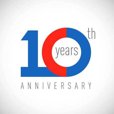 10 th anniversary numbers. 10 years old congrats, colorful. Congratulation idea. Isolated abstract graphic design template. Colored digit. Up to 10% off discount. Anniversary concept Ilustração Vetorial