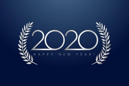 2020 awards, isolated elegant abstract silver emblem. Happy New Year luxurious congratulating framed template. Class of 2020 graduates poster with gray stained glass greetings Archivio Fotografico - 129688831
