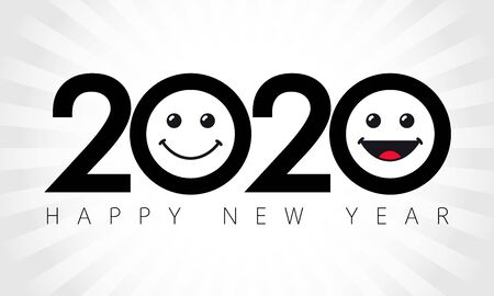 2020 emoji icons, isolated abstract black emblem. Happy New Year smiling emoticon congratulating template. Thank you 2000 followers numbers. Class of 2020 graduates poster