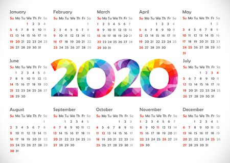 Calendar 2020. Horizontal schedule layout. Xmas colorful numbers. Stained glass. Abstract isolated graphic design template. USA holidays. White background. Calender title. Greeting digits