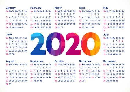 Calendar 2020 horizontal schedule layout with USA holidays. Xmas stained glass colorful numbers. Abstract isolated graphic design template. Calender title or greeting digits on white background