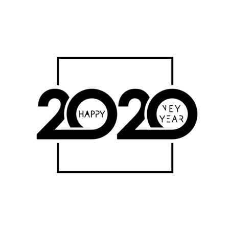 2020 happy new year design. Vector illustration with black holiday label isolated on white background. Xmas card, Christmas sale banner or class of 2020 graduates poster