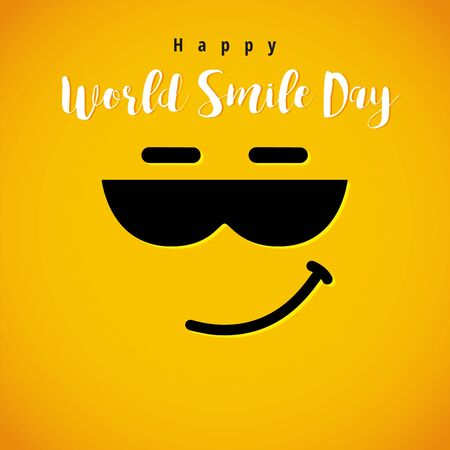 World Smile Day, October 4th banner. Winking smiley in sun glasses and lettering Happy World Smile Day on yellow background. Vector illustration Ilustração