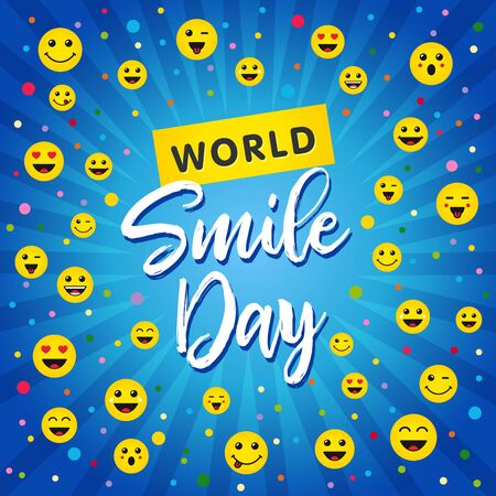 World Smile Day, October 4th concept. Smiley icons and lettering World Smile Day on blue beams background. Vector illustration