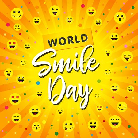 World Smile Day, October 4th banner design. Smiley icons and lettering World Smile Day on yellow beams background. Vector illustration