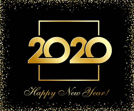 2020 Happy New Year golden glittering  design. Vector illustration with black holiday label isolated on black background. Xmas card, Christmas sale banner or class of 2020 graduates poster Illustration