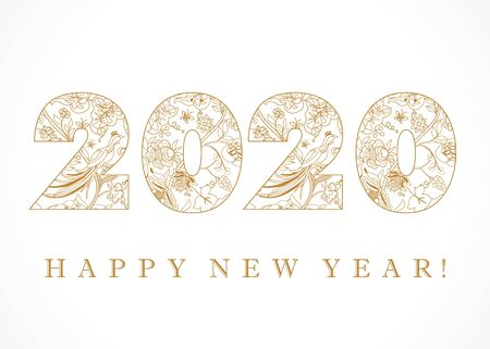 2020 Happy New Year golden luxury folk. Happy holidays ethnical traditional gold numbers 2nd, 20th, ethnic flowers, plants, paradise birds. Vector vintage design isolated on white background 写真素材 - 130040319