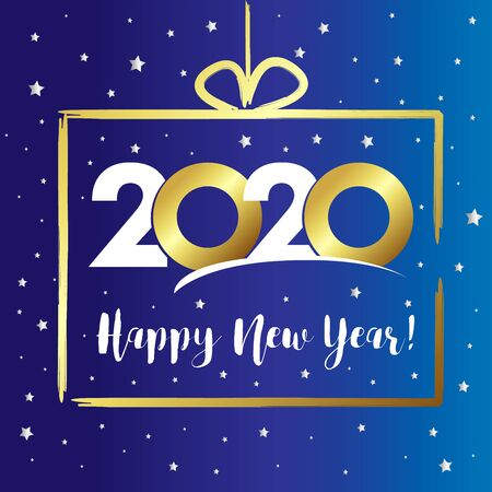 2020 in golden gift box, Happy New Year card. Lettering Xmas greeting inscription 20 & 20 and silver stars on blue winter background. Vector illustration
