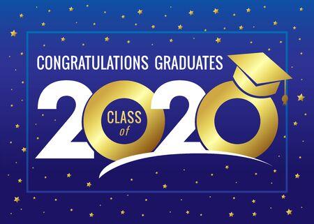 Classe di laurea del 2020 illustrazione vettoriale. Classe di 20 20 congratulazioni grafiche di design per la decorazione con colori dorati per carte di design, inviti o banner