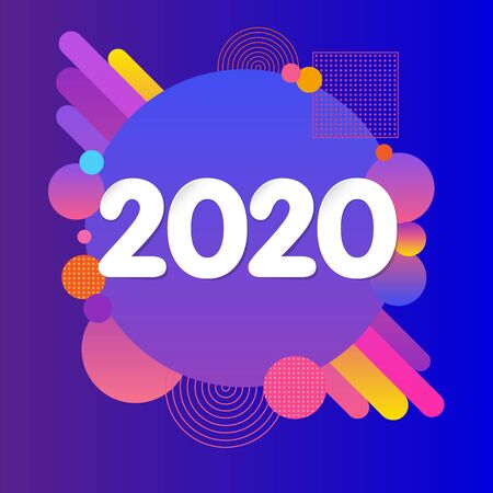 2020 Happy New Year abstract futuristic design. Vector illustration with holiday colored label isolated on violet background. Xmas card, Christmas sale banner or class of 2020 graduates poster