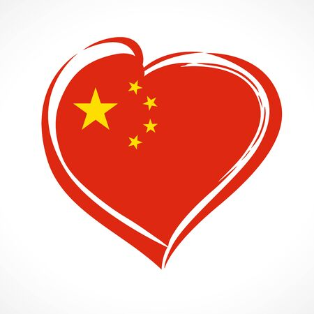 Love China, heart emblem national flag colored. Flag of Chinese with heart shape for National Day of the People's Republic of China October 1 1949, isolated on white background. Vector illustration Фото со стока - 130392049