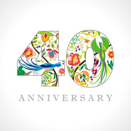 40 years old. 40 th anniversary numbers. Decorative symbol. Age congrats with peacock birds. Isolated abstract graphic design template. Royal colorful digits. Up to 40% percent off discount Ilustração