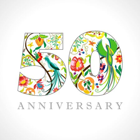 50 years old. 50 th anniversary numbers. Decorative symbol. Age congrats with peacock birds. Isolated abstract graphic design template. Royal colorful digits. Up to 50% percent off discount.