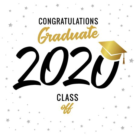 Graduating class of 2020 vector illustration. Class of 20 20 with academic cap calligraphy design graphics in golden and black colored for design cards, invitations or banner