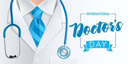 International doctors day background. Medical health care banner design with doctor, stethoscope and blue necktie. Vector illustration