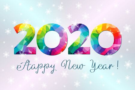 2020 A Happy New Year greeting card. Xmas lights background. Colorful holiday numbers and text. Stained glass logotype. Abstract isolated graphic design template. Calender title. Facet digits for sale Banco de Imagens - 130846786