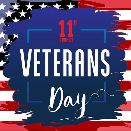Veterans day, November 11. Honoring all who served. USA Flag in grunge style with text, patriotic background. Vector illustration template for banner