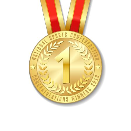 Realistic vector 3d gold award medal icon with color ribbons isolated on white background. The first place on sport tournament, victory concept vector prizes Ilustração