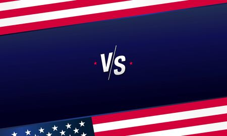 Versus logo VS letters for sports and fight competition with USA flag. MMA, UFS, Battle, vs match, game concept competitive vs with star elements. Dark blue background vector illustration  イラスト・ベクター素材