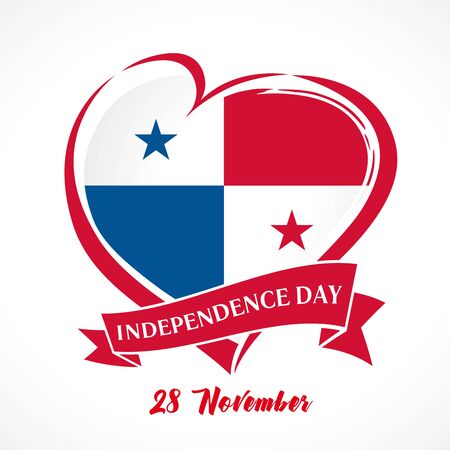 Love Panama heart sign. Emblem of Panamanian for Happy Panama Day 28 november isolated on white background. Vector illustration Çizim