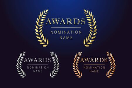 Awards   set. Isolated abstract graphic design template. Celebrating elegant nomination banner decorative old tradition collection of # 1 # 2 # 3 place, round shining cup symbols. Dark background.