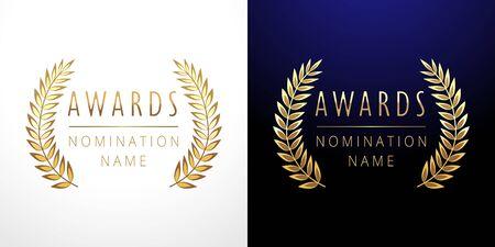 Awards set. Isolated abstract graphic design template. Celebrating elegant nomination emblem decorative old tradition collection of # 1 place, round shining cup symbols. White, dark background Ilustração