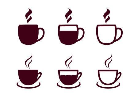 Jeu d'icônes de tasses à café. Illustration vectorielle tasse de thé chaud sur fond blanc Vecteurs