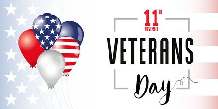 Veterans Day flag in balloons banner. Honoring all who served. November 11. USA flag with text, patriotic background. Vector illustration
