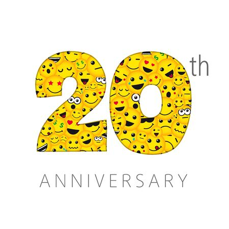 20 th anniversary numbers. 20 years old yellow colored logotype. Age congrats, congratulation idea. Isolated abstract graphic design template. Creative 2, 0 digits. Up to 20% percent off discount. Ilustração