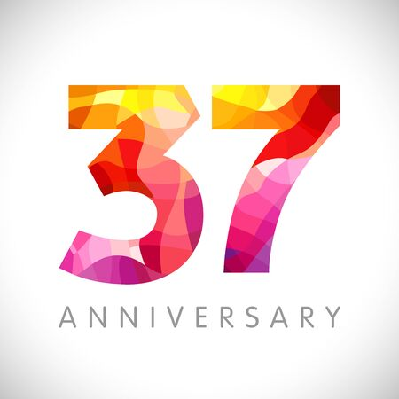 37 th anniversary numbers. 37 years old yellow colored. Age congrats, congratulation idea. Isolated abstract graphic design template. Creative 3, 7 3D digits. Up to 37% percent off discount.