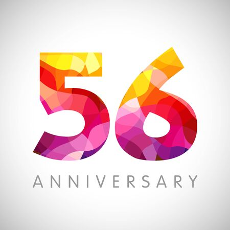 56 th anniversary numbers. 56 years old yellow colored logotype. Age congrats, congratulation idea. Isolated abstract graphic design template. Creative 5, 6 3D digits. Up to 56% percent off discount.