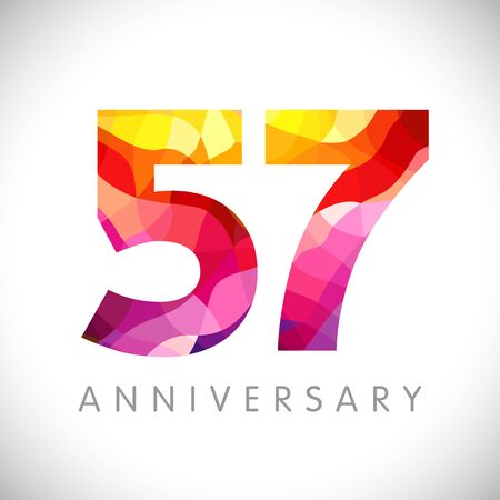 57 th anniversary numbers. 57 years old yellow colored logotype. Age congrats, congratulation idea. Isolated abstract graphic design template. Creative 5, 7 3D digits. Up to 57% percent off discount. Ilustração
