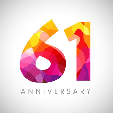 61 st anniversary numbers. 61 years old yellow colored logotype. Age congrats, congratulation idea. Isolated abstract graphic design template. Creative 1, 6 3D digits. Up to 61% percent off discount.