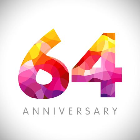 64 th anniversary numbers. 64 years old yellow colored logotype. Age congrats, congratulation idea. Isolated abstract graphic design template. Creative 4, 6 3D digits. Up to 64% percent off discount.