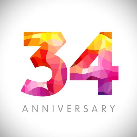 34 th anniversary numbers. 34 years old yellow colored logotype. Age congrats, congratulation idea. Isolated abstract graphic design template. Creative 4, 3 3D digits. Up to 34% percent off discount.