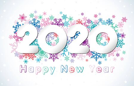 2020 A Happy New Year greeting card. Xmas snowy background. Paper holiday numbers and text. Colored logotype. Abstract isolated graphic design template. Calendar title. Digits 20 for seasonal sale. Foto de archivo - 133415935
