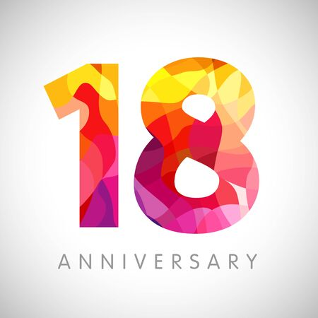 18th anniversary numbers. 18 years old yellow colored logotype. Age congrats, congratulation idea. Isolated abstract graphic design template. Creative 1, 8 3D digits. Up to 18% percent off discount Ilustrace